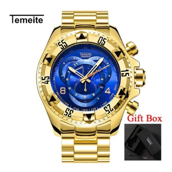 Relógio De Luxo Masculino Temeite Dourado + Caixa Box