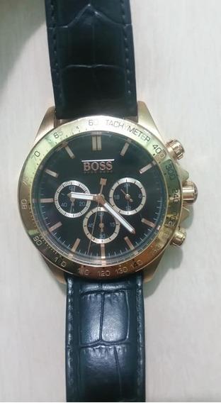 Relógio Hugo Boss Couro Preto Caixa Rose. 1513179