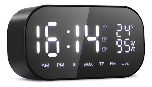 Imagen 1 de 7 de Reloj Despertador Digital Con Altavoz Bluetooth Y Radio Fm