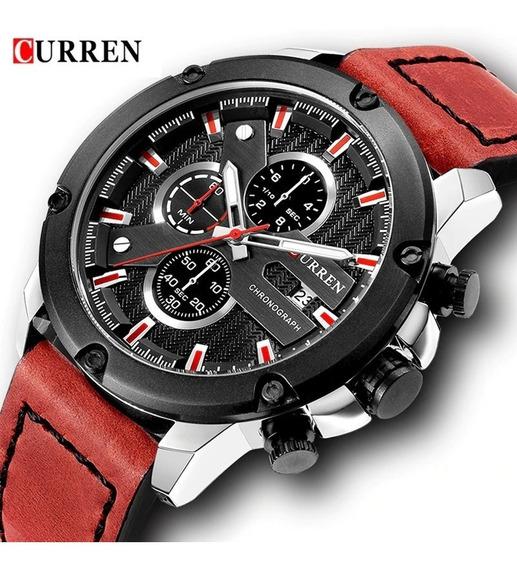 Relógio Curren 8308 Original Cronógrafo Funcional De Couro