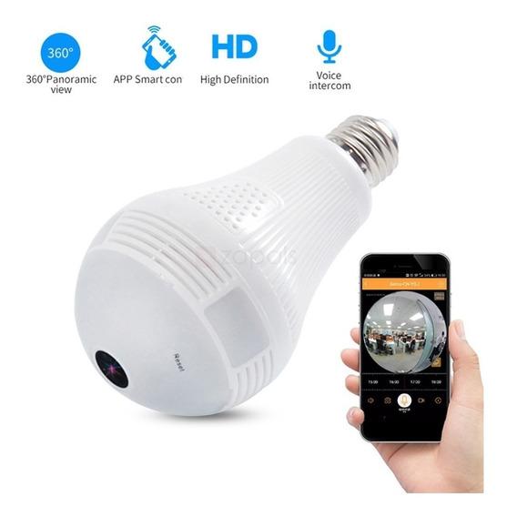 Lâmpada Camêra Ip Seguraça Vr 360 Panorâmica Espia Wifi