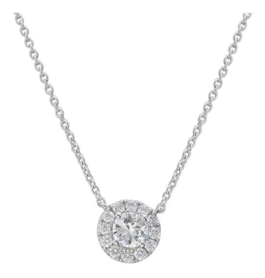 Collar Colgante Solitario Oro Blanco 18k Diamantes Brillante