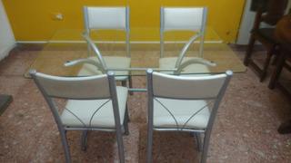 Juego Mesa Comedor Vidrio + 4 Sillas Eco Cuero Reforzadas