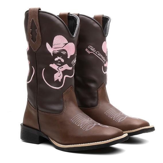 Bota Texana Feminina Country Em Couro Legitimo Tião Carreiro