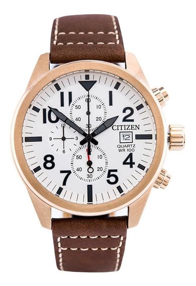 Relógio Citizen Masculino Couro Cronógrafo Tz31178e
