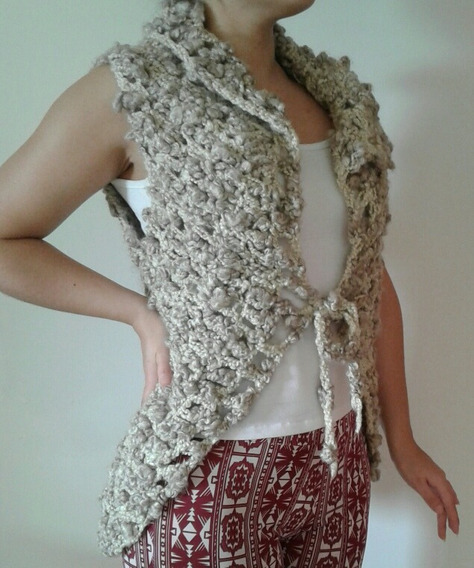 Saquito Crochet Beige