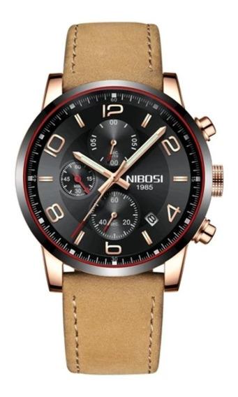 Relógio Masculino Nibosi 2328 Dourado Pulseira De Couro