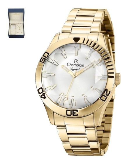 Relógio Champion Elegance Feminino + Semi Joia Cn27214w Nfe