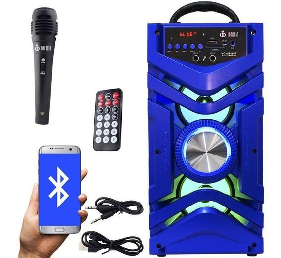 Caixa Som Portátil Bluetooth Bateria Microfone Amplificada