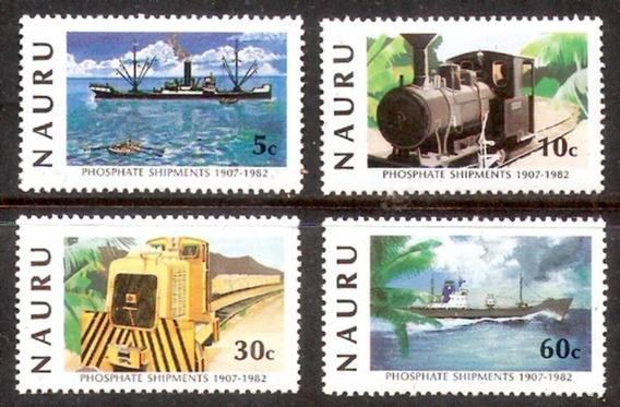 Trenes Y Barcos - Naurú Island - Serie Mint De 4 Valores -