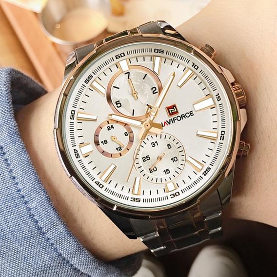 Relógio Luxuoso Original Naviforce 9089 Prateado Masculino
