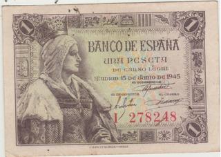Antiguos Billetes De 1 Y 10 Pesetas España. Colección 15-vds