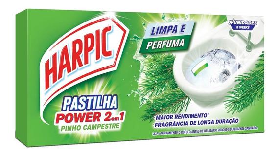 Pastilha Sanitária Adesiva Harpic 9g 2 Em 1 Pinho C/3