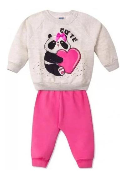 Calça + Moletom Algodão Roupa Panda Cute Menina Bebê Neném