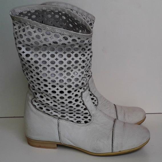 Botas Cuero Blancas Hpie Caña Media Calada Originales Usadas