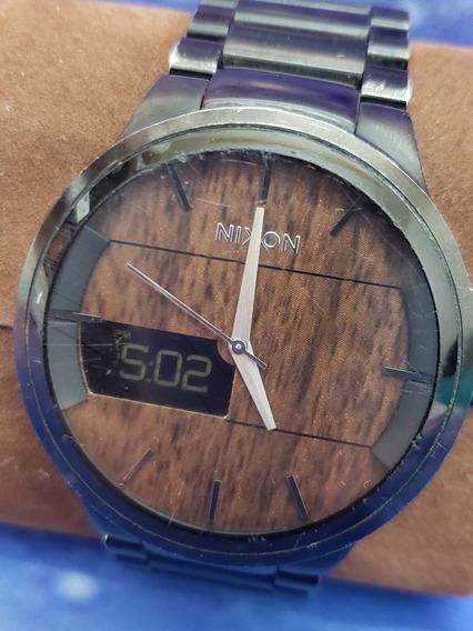 Relógio Original Nixon The Spencer Fundo De Madeira