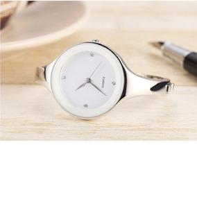 Relógio Feminino Bracelete Barato Aço Inox Prata Promoção