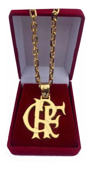 Cordão Cadeado Banhado A Ouro Pingente Crf Flamengo 70cm4mm