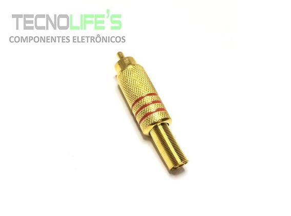 Plug Rca 6mm Gold Com Marcação Vermelha Hgd-283 Metal Audio
