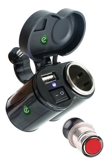 Toma Corriente Cargador Usb 12v Para Moto Escopeta + Regalo