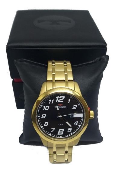 Relógio Masculino Technos Racer Analógico Calendário Dourado
