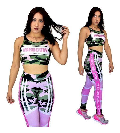 Calças Leg Legging + Top Blusa Suplex Fitness Estampada