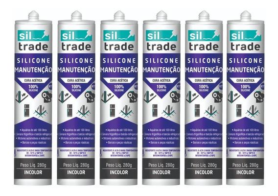 6 X Silicone Siltrade Manutenção Preto 280g Aquário 280 G
