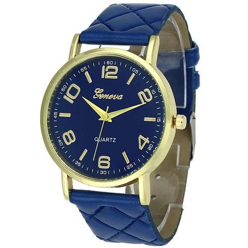 Relógio Feminino Geneva Dourado Pulseira Matelassê Azul