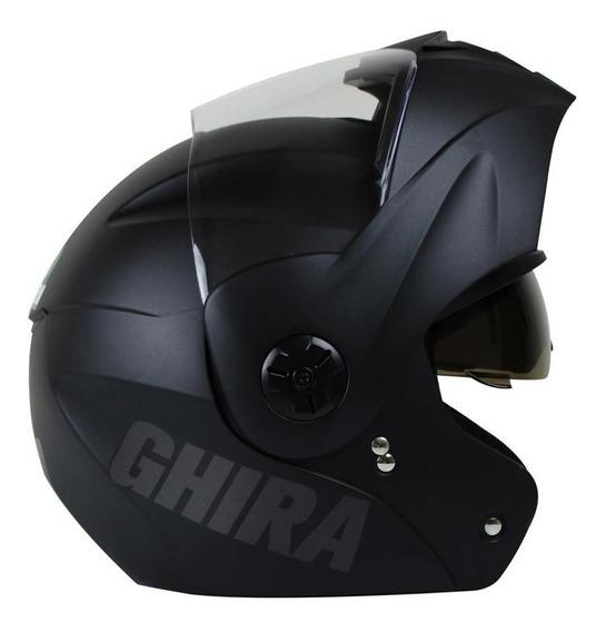 Casco Moto Abatible Ghira Gh1000 Certificado Dot Negro Mate