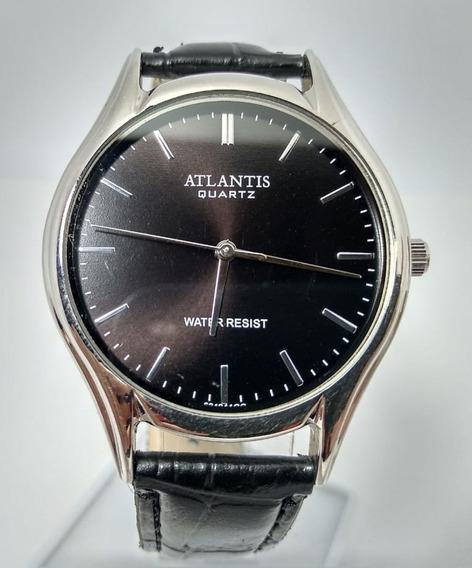 Relógio Atlantis Prata Fundo Preto Pulseira Em Couro - G6312