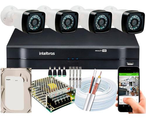 Imagem 1 de 5 de Kit Cftv 4 Cameras Segurança 1080p Full Hd Dvr Intelbras 4ch