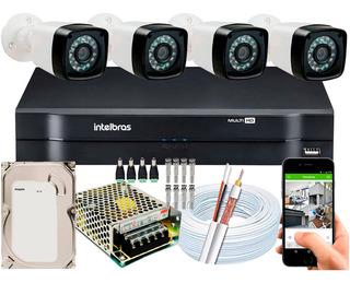 Kit Cftv 4 Cameras Segurança 1080p Full Hd Dvr Intelbras 4ch