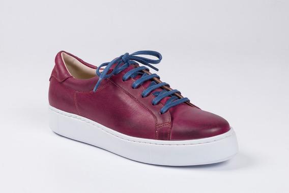 Zapatillas De Cuero Para Hombre Color Bordó - Modelo Milán