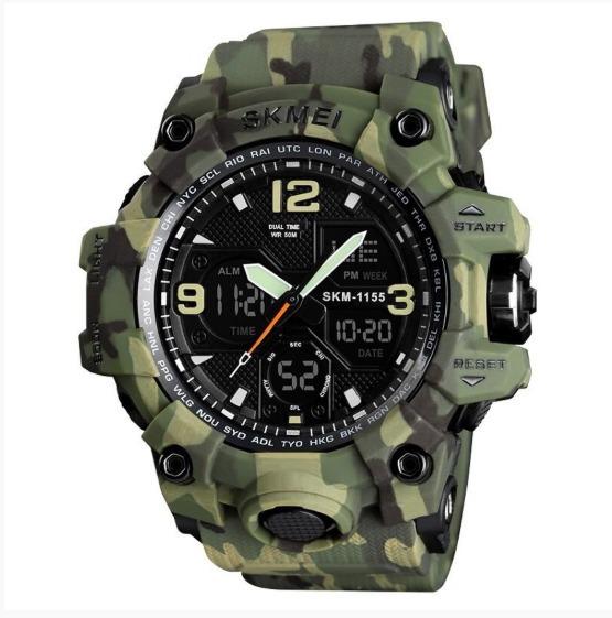 Relógio Masculino Skmei Anadigi - Verde Camuflado