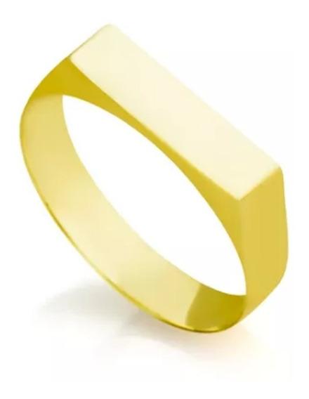 Anel Chapa Ouro 18k 750 Pesado 2,5 Gramas Gravação Nome