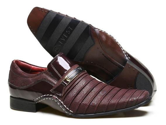 Sapato Social Em Couro Calvest Zm1930c968002 Bordô