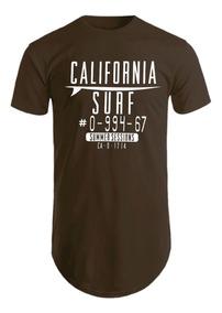 Blusa Masculina Longline Camiseta Estampada California Surf