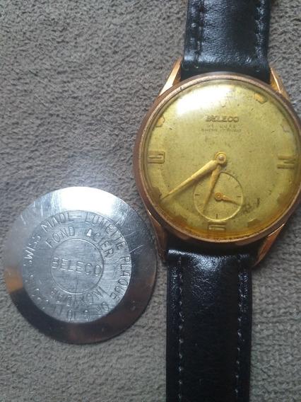 Raríssimo Relógio Vintage Beleco D Luxe Plaque Ouro 17 Rubis