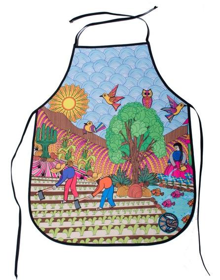 Mandil Chef Diseño Mexicano Milpa Bordados Hidalgo Tenango