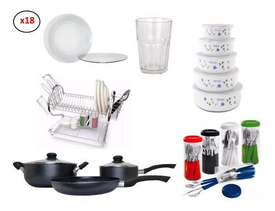 Set Hogar 95 Pz Vajilla Vasos Bateria De Cocina Cubiertos