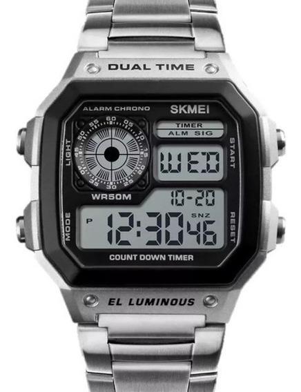 Relógio Skmei Digital Masculino Original Pulseira Em Aço