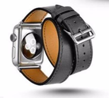 Pulseira Estilo H.ermes Double Tour Apple Watch 42mm Preta
