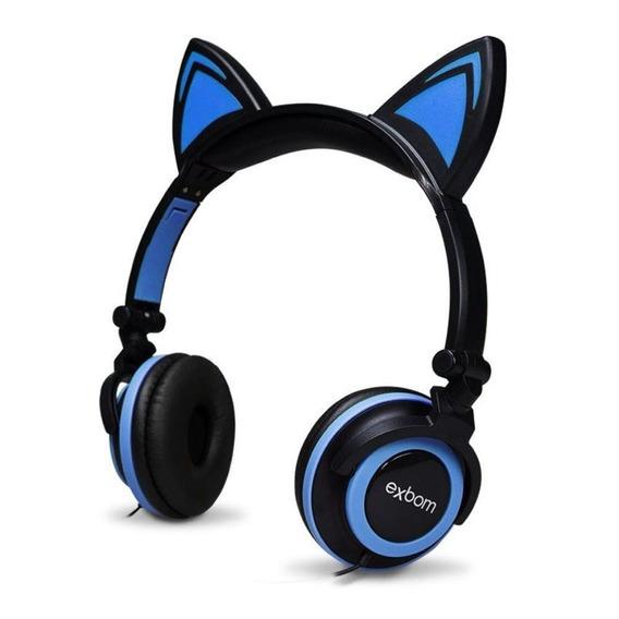 Headphone Fone Cat P2 Orelha De Gato Led Cosplay Cor Azul