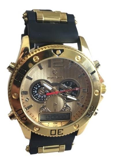 Relógio Masculino Dourado Militar Potenzia Barato Promoção