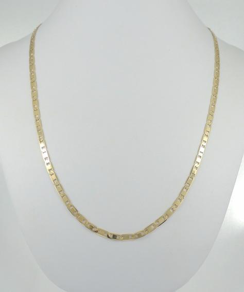 Corrente Masculina Cordão Piastrine 70cm Ouro 18k 750