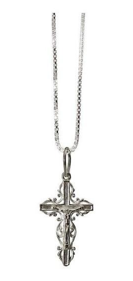 Kit Pingente E Corrente Crucifixo Prata 950 Florenzza Jóias