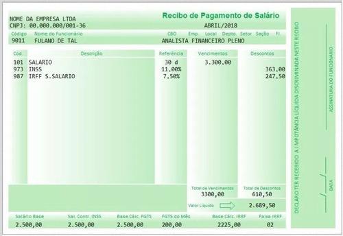 Imagem 1 de 3 de Modelo Holerite Contra-cheque Editável No Excel Frete Grátis