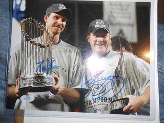 Autografo Randy Johnson Y Curt Schilling Certificado Y Extra