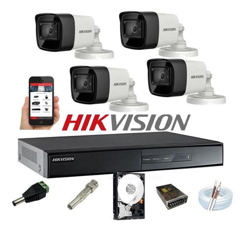 Kit Hikvision 4 Cam 2,8mm Full Hd 1080p Dvr 4 7204 Turbo Hd