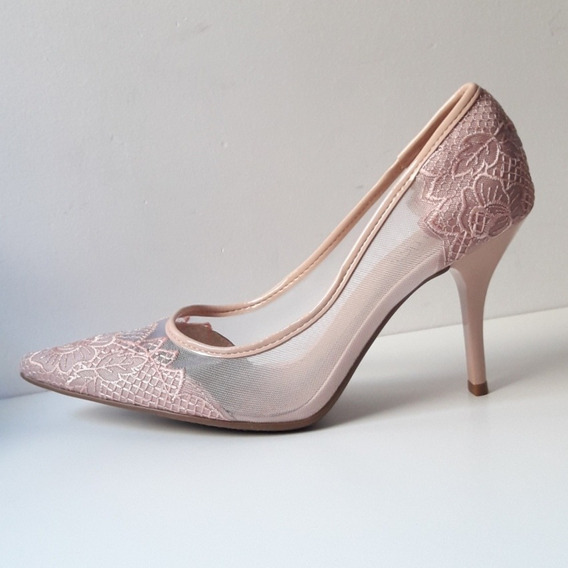 Stilletos Color Nude, N° 38 Impecables, Como Nuevos!